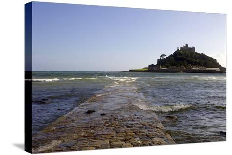 The Old Stone Causeway Leading to St. Michaels Mount Submerged by the Incoming Tide-Simon Montgomery-Stretched Canvas Print