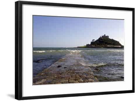 The Old Stone Causeway Leading to St. Michaels Mount Submerged by the Incoming Tide-Simon Montgomery-Framed Art Print