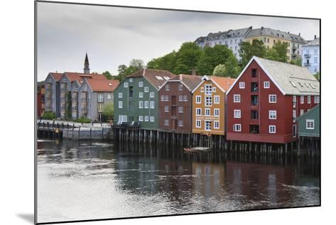 Colourful Wooden Warehouses on Wharf Beside the Nidelva River-Eleanor Scriven-Mounted Photographic Print