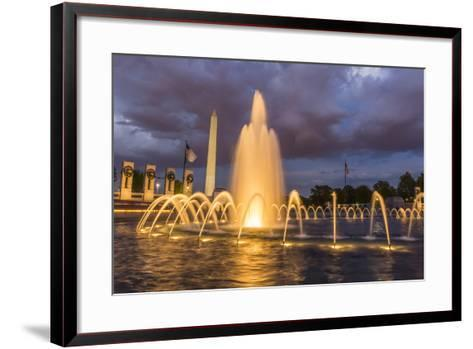 The Washington Monument Lit Up at Night as Seen from the World War Ii Monument-Michael Nolan-Framed Art Print