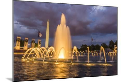 The Washington Monument Lit Up at Night as Seen from the World War Ii Monument-Michael Nolan-Mounted Photographic Print