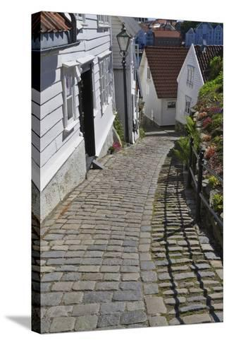 Steep Cobbled Street and White Wooden Houses-Eleanor Scriven-Stretched Canvas Print
