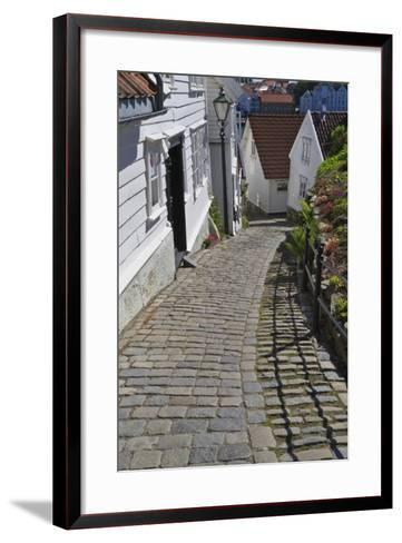 Steep Cobbled Street and White Wooden Houses-Eleanor Scriven-Framed Art Print