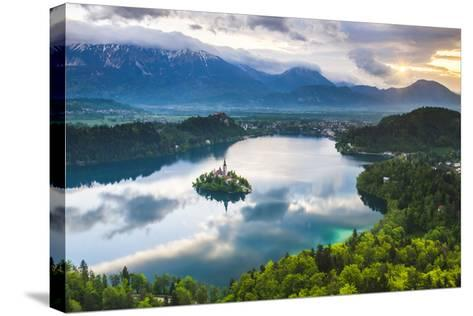 Lake Bled Island and the Julian Alps at Sunrise-Matthew Williams-Ellis-Stretched Canvas Print