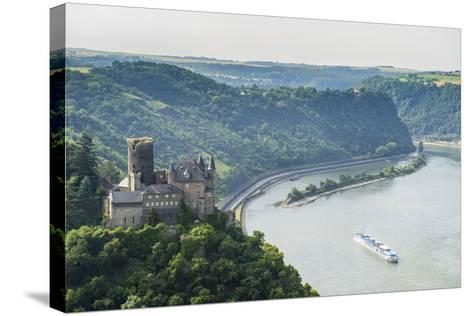 Castle Katz and the Lorelei Above the River Rhine, St. Goarshausen, Rhine Gorgegermany, Europe-Michael Runkel-Stretched Canvas Print