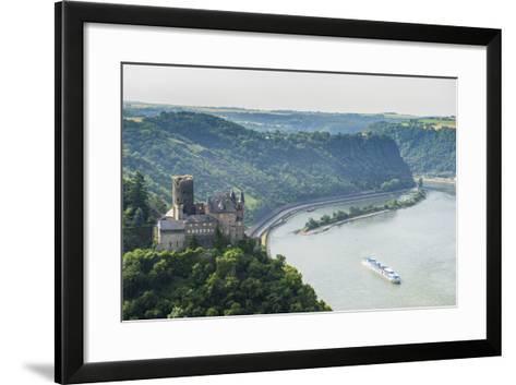 Castle Katz and the Lorelei Above the River Rhine, St. Goarshausen, Rhine Gorgegermany, Europe-Michael Runkel-Framed Art Print