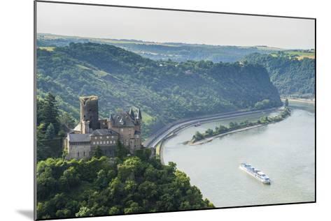 Castle Katz and the Lorelei Above the River Rhine, St. Goarshausen, Rhine Gorgegermany, Europe-Michael Runkel-Mounted Photographic Print