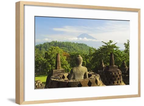 Borobodurwith Mount Merapi in the Distance, Kedu Plain, Java, Indonesia-Jochen Schlenker-Framed Art Print