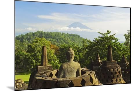 Borobodurwith Mount Merapi in the Distance, Kedu Plain, Java, Indonesia-Jochen Schlenker-Mounted Photographic Print