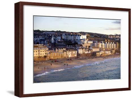 Overlooking Porthmeor Beach in St. Ives at Sunset, Cornwall, England, United Kingdom, Europe-Simon Montgomery-Framed Art Print