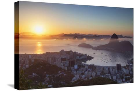 View of Sugarloaf Mountain and Botafogo Bay at Dawn, Rio De Janeiro, Brazil, South America-Ian Trower-Stretched Canvas Print