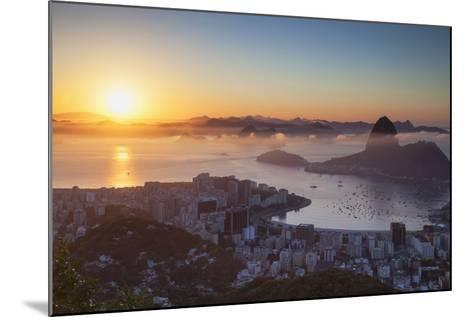 View of Sugarloaf Mountain and Botafogo Bay at Dawn, Rio De Janeiro, Brazil, South America-Ian Trower-Mounted Photographic Print