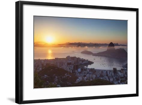 View of Sugarloaf Mountain and Botafogo Bay at Dawn, Rio De Janeiro, Brazil, South America-Ian Trower-Framed Art Print