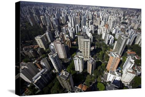 View over Sao Paulo Skyscrapers and Traffic Jam from Taxi Helicopter-Olivier Goujon-Stretched Canvas Print