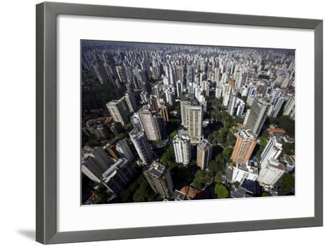 View over Sao Paulo Skyscrapers and Traffic Jam from Taxi Helicopter-Olivier Goujon-Framed Art Print