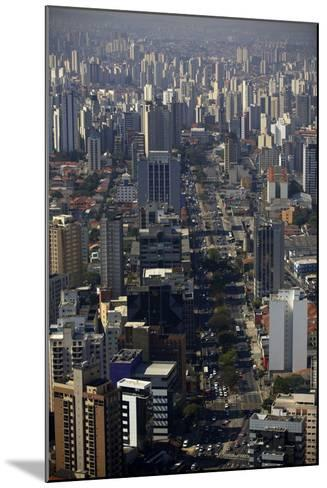 View over Sao Paulo Skyscrapers and Traffic Jam from Taxi Helicopter-Olivier Goujon-Mounted Photographic Print