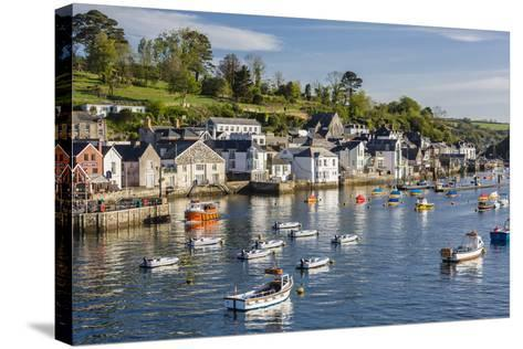 Early Morning Light on Small Boats at Anchor in the Harbour at Fowey, Cornwall, England-Michael Nolan-Stretched Canvas Print