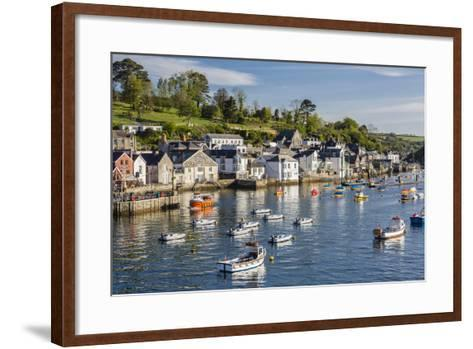 Early Morning Light on Small Boats at Anchor in the Harbour at Fowey, Cornwall, England-Michael Nolan-Framed Art Print