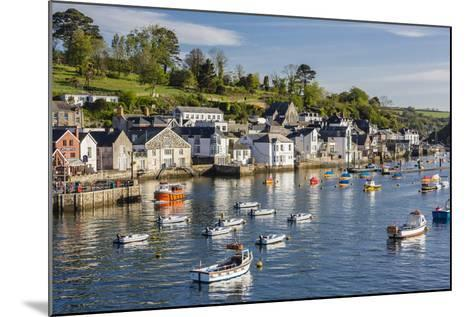 Early Morning Light on Small Boats at Anchor in the Harbour at Fowey, Cornwall, England-Michael Nolan-Mounted Photographic Print