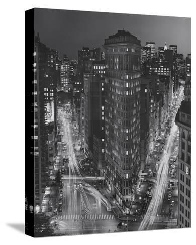 Flatiron Building, New York City at Night 3-Henri Silberman-Stretched Canvas Print