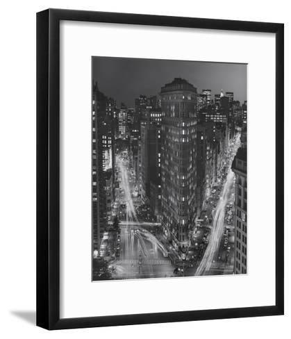 Flatiron Building, New York City at Night 3-Henri Silberman-Framed Art Print