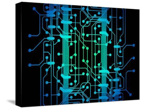 Abstract Illustration of Blue and Green Colored Circuit Board-oriontrail2-Stretched Canvas Print