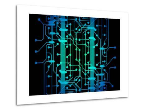 Abstract Illustration of Blue and Green Colored Circuit Board-oriontrail2-Metal Print