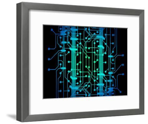 Abstract Illustration of Blue and Green Colored Circuit Board-oriontrail2-Framed Art Print