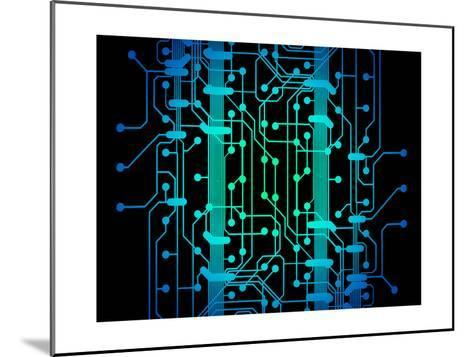 Abstract Illustration of Blue and Green Colored Circuit Board-oriontrail2-Mounted Art Print