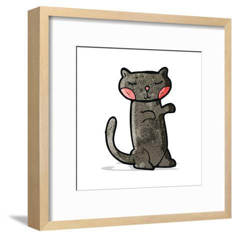 Cute Black Cat Cartoon-lineartestpilot-Framed Art Print
