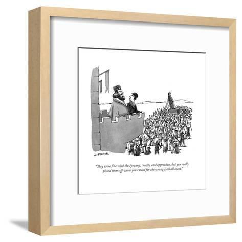 """They were fine with the tyranny, cruelty and oppression, but you really ?"" - Cartoon-Joe Dator-Framed Art Print"