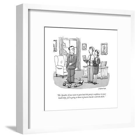 """""""Mr. Speaker, if you want to gain back the party's confidence in your lead?"""" - Cartoon-Joe Dator-Framed Art Print"""