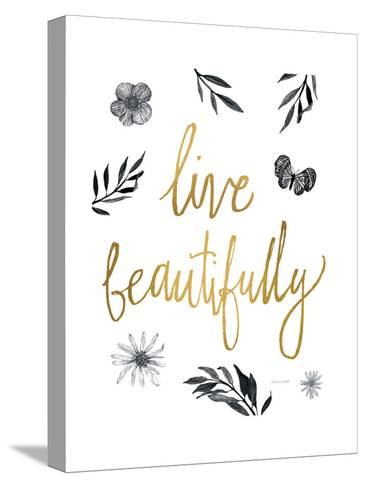 Live Beautifully BW-Sara Zieve Miller-Stretched Canvas Print