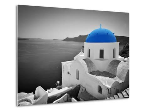 Oia Town on Santorini Island, Greece. Black and White Styled with Blue Dome of Traditional Church O-Michal Bednarek-Metal Print