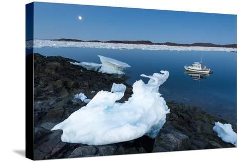 Full Moon and Iceberg, Repulse Bay, Nunavut Territory, Canada-Paul Souders-Stretched Canvas Print