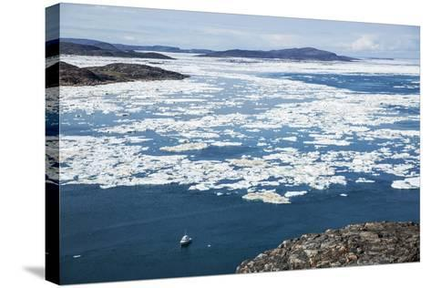 Expedition Boat and Sea Ice, Repulse Bay, Nunavut Territory, Canada-Paul Souders-Stretched Canvas Print