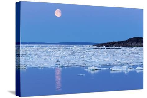 Full Moon and Melting Sea Ice, Repulse Bay, Nunavut Territory, Canada-Paul Souders-Stretched Canvas Print