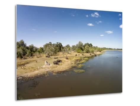 Aerial View of Hippo Pond, Moremi Game Reserve, Botswana-Paul Souders-Metal Print