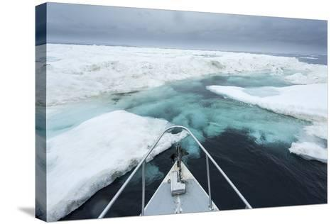 Expedition Boat and Sea Ice, Hudson Bay, Nunavut, Canada-Paul Souders-Stretched Canvas Print