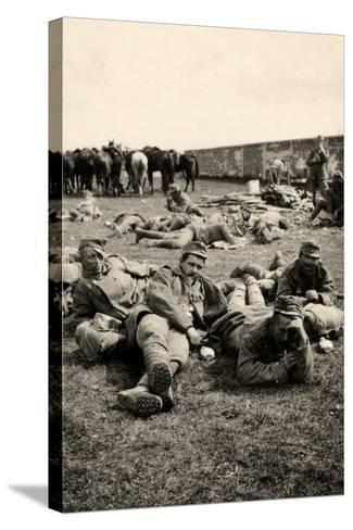 Prisoners in Transit Rest at Medeuzza During World War I-Ugo Ojetti-Stretched Canvas Print
