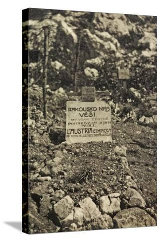 Visions of War 1915-1918: Cemetery in a War Zone with Inscription-Vincenzo Aragozzini-Stretched Canvas Print