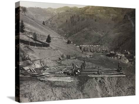 Construction of Military Barracks in the Valley Doblar During the First World War-Luigi Verdi-Stretched Canvas Print