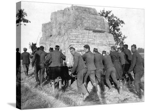 A Group of British Pows in Germany, Transporting Hay for the Troops' Straw Beds--Stretched Canvas Print