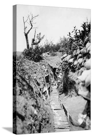 Italian Trenches on the Italian-Austrian Front in World War I-Ugo Ojetti-Stretched Canvas Print