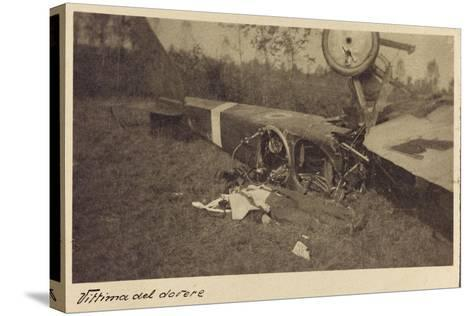 Corpse of an Italian Soldier Next to the Carcass of a Plane During the First World War-Vincenzo Aragozzini-Stretched Canvas Print