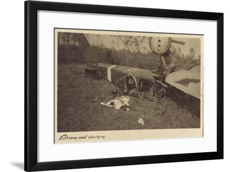 Corpse of an Italian Soldier Next to the Carcass of a Plane During the First World War-Vincenzo Aragozzini-Framed Art Print