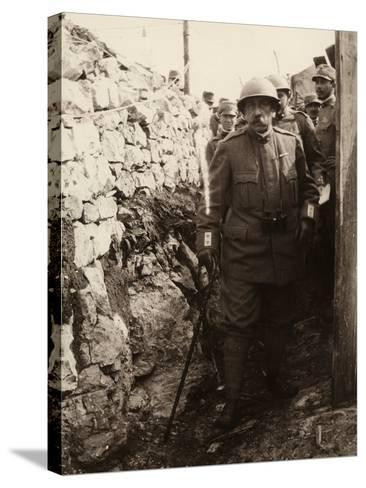 General Elia Inside a Trench with a Group of Soldiers. the Photo Was Taken May 1916-Ugo Ojetti-Stretched Canvas Print