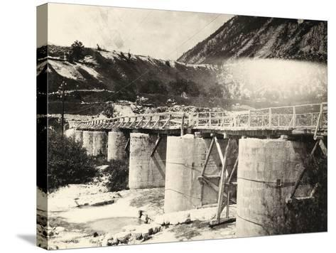 Bridge over the River Isonzo, Near Plezzo in Slovenia. the Structure Was Bombed During WWI-Ugo Ojetti-Stretched Canvas Print