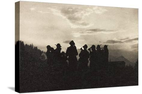 Visions of War 1915-1918: Band of Soldiers Alpine-Vincenzo Aragozzini-Stretched Canvas Print