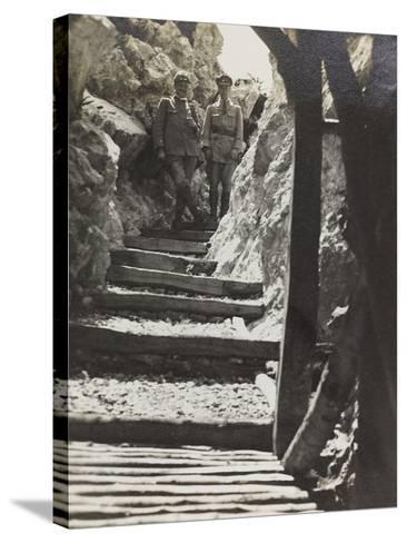Walkway on Mount Iesa (Jeza) During the First World War-Luigi Verdi-Stretched Canvas Print